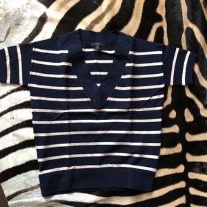 Jcrew Navy and Ivory stripe T-shirt Sweater